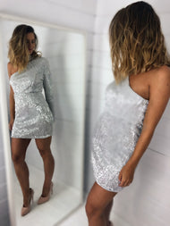 HIRE SILVER SEQUIN MINI DRESS WITH CHOKER SILVER SEQUIN MINI DRESS WITH CHOKER DETAIL_3