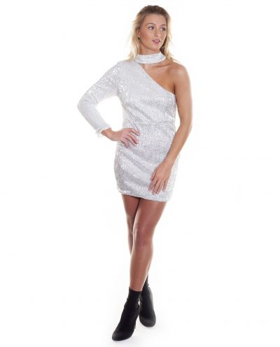 SILVER SEQUIN MINI DRESS WITH CHOKER DETAIL
