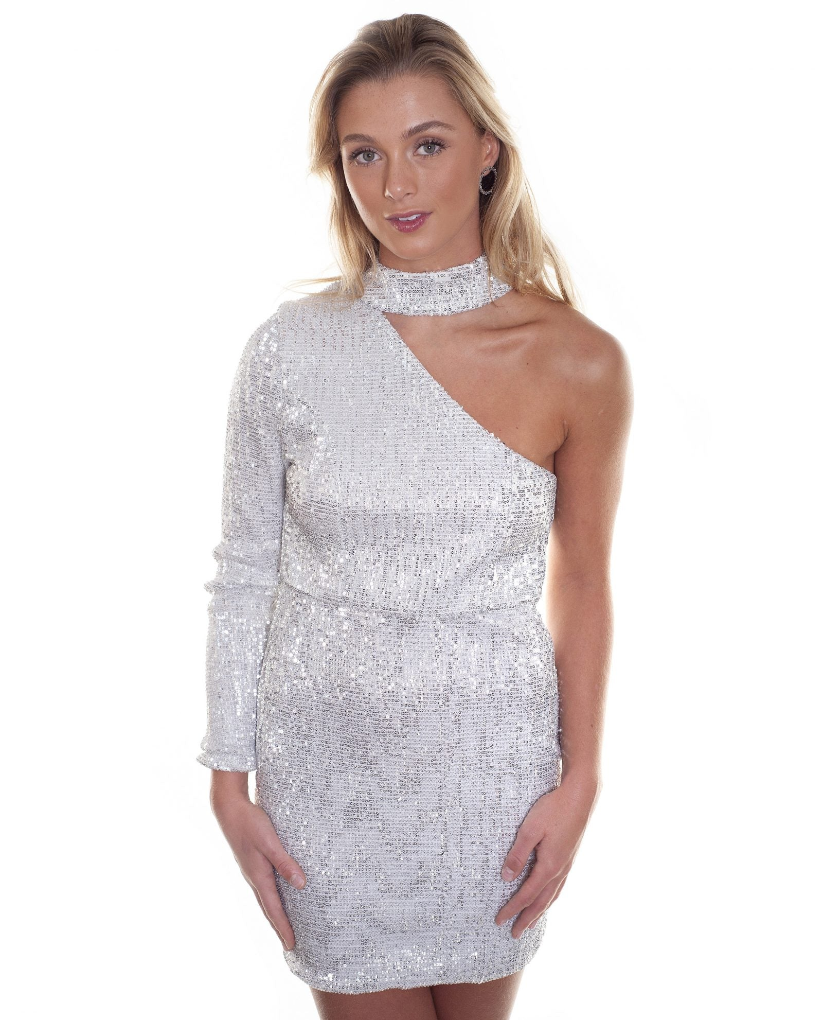 HIRE SILVER SEQUIN MINI DRESS WITH CHOKER DETAIL | Hirestreetuk.com