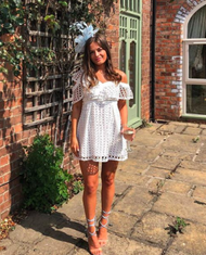 ONE SHOULDER WHITE LACE DRESS