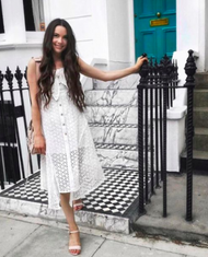 WHITE MIDI DRESS WITH TIE BOW FRONT