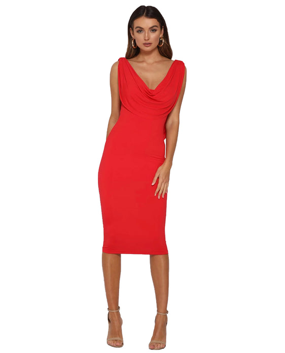 RUNAWAY THE LABEL FLAME DRESS IN RED