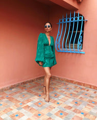 RAT AND BOA GREEN PLUNGE MINI DRESS