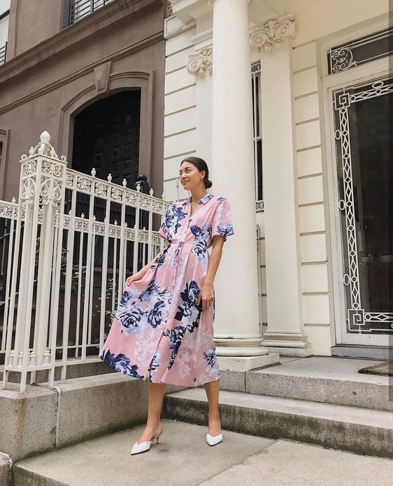 FRENCH CONNECTION PINK FLORAL MAXI SHIRT DRESS