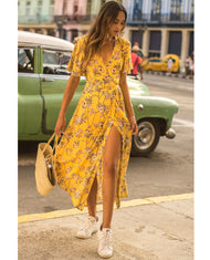 Hire Seven Wonders Yellow Floral Print Wrap Dress 7