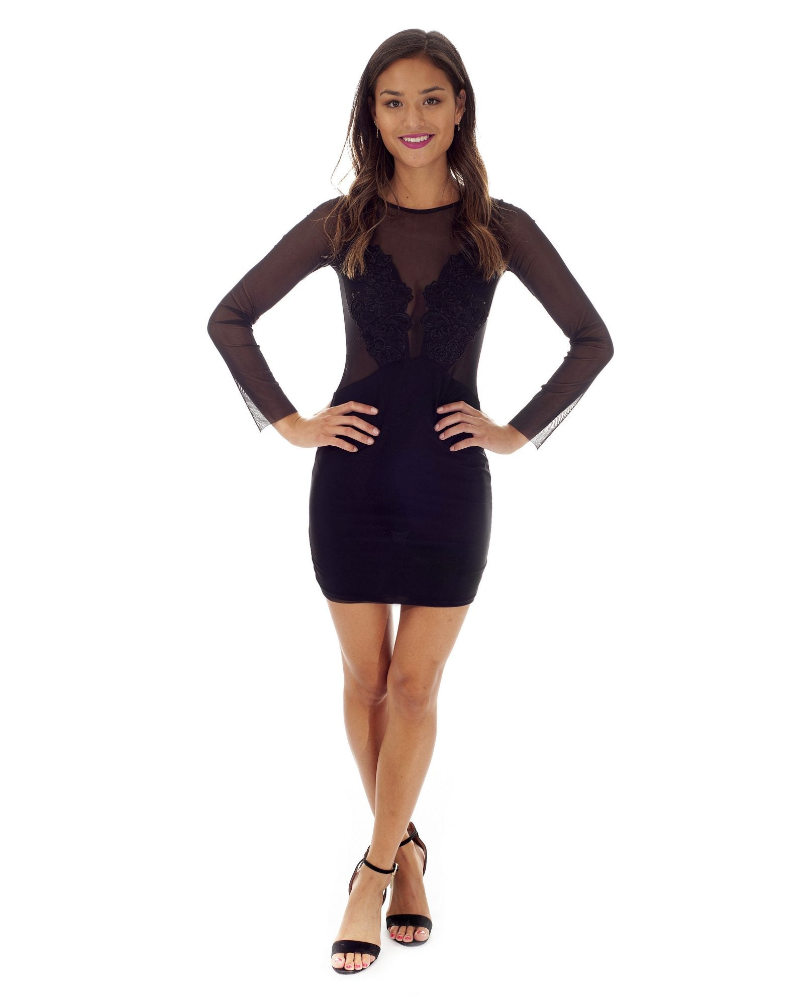 65066c4e3d Hire TFNC Black Bodycon Mini Dress With Sheer Detail