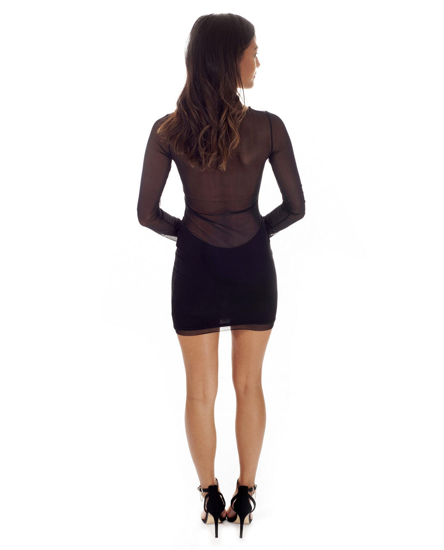 beee86361d ... Hire TFNC Black Bodycon Mini Dress With Sheer Detail