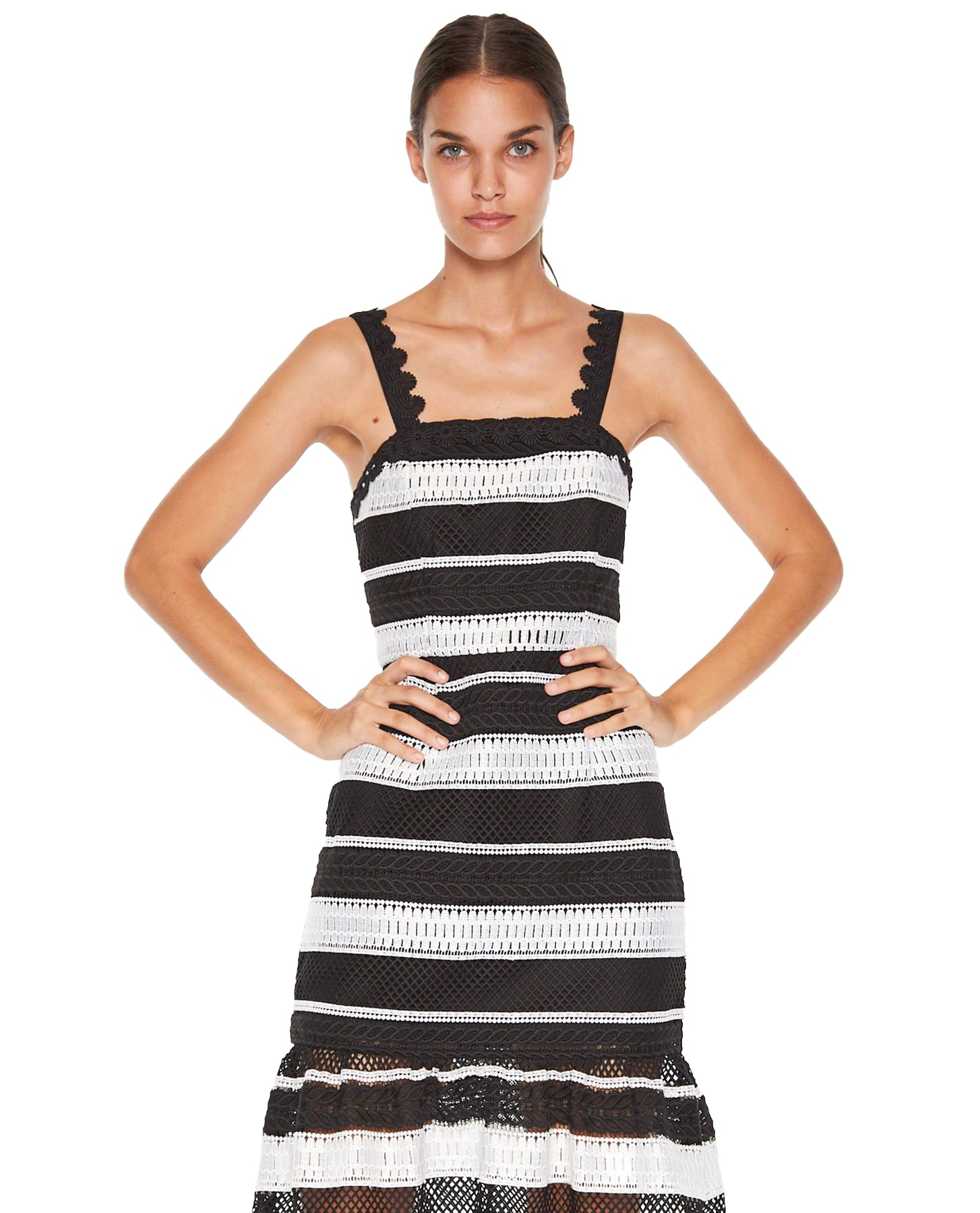 TALULAH DARLING WHITE AND BLACK MIDI