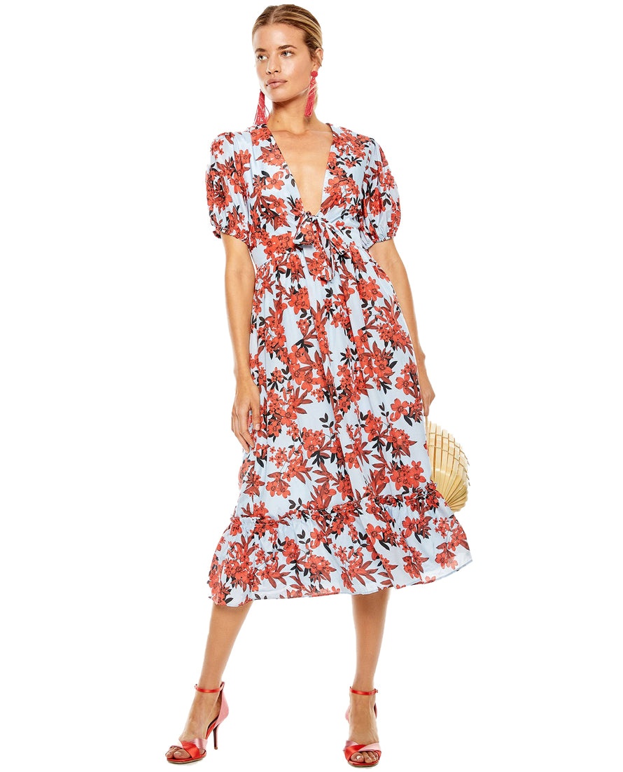 TALULAH RED FLORAL MIDI DRESS