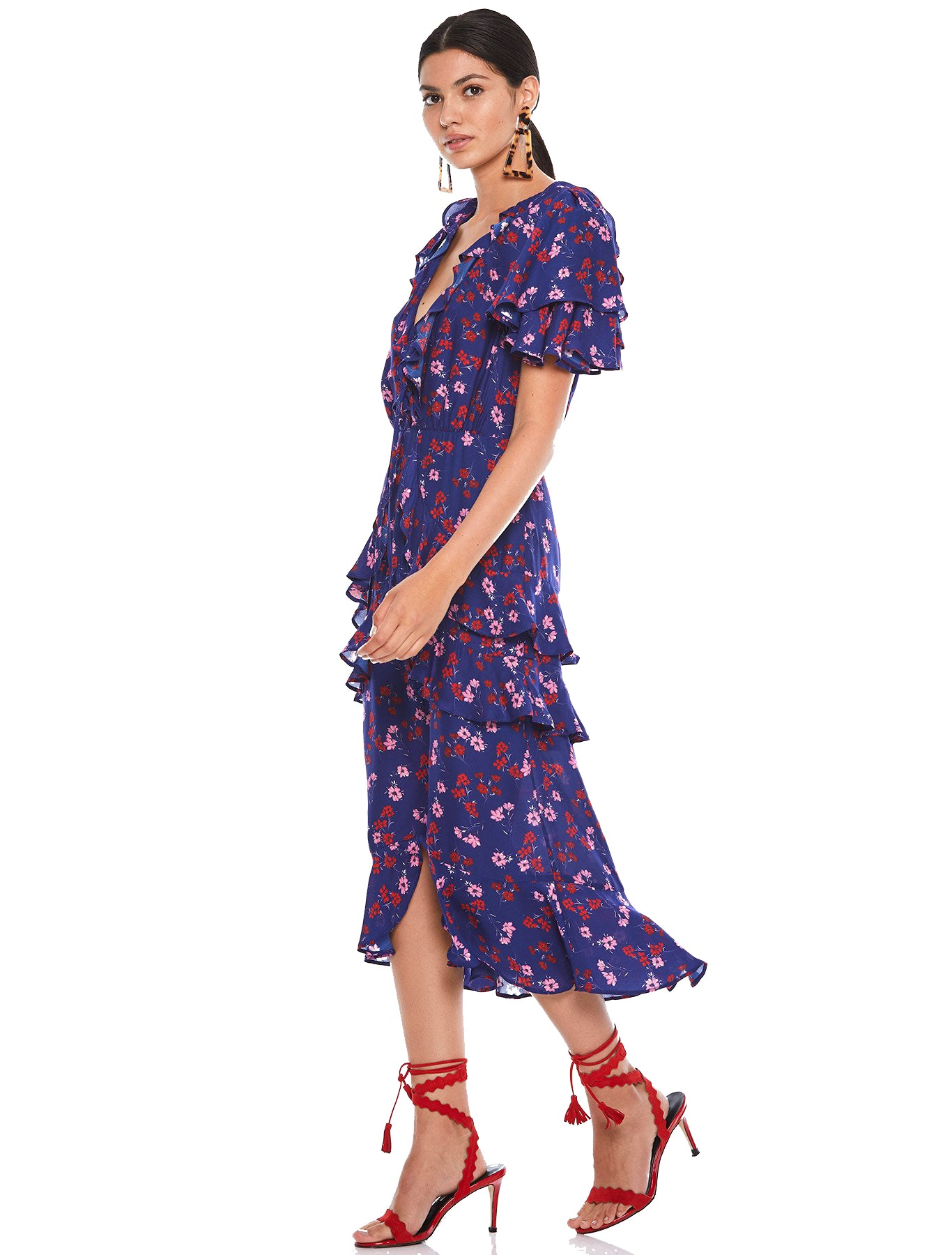 TALULAH NAVY FLORAL RUFFLE MIDI DRESS