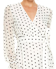 TALULAH WHITE POLKA DOT WRAP MIDI DRESS