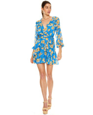 TALULAH BLUE FLORAL WRAP MINI DRESS