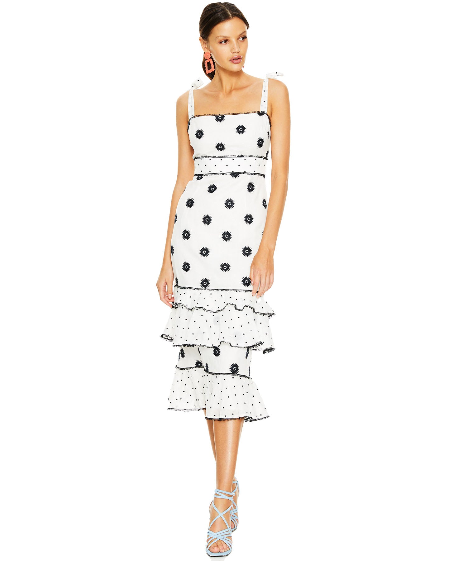 TALULAH WHITE WHIMSICAL MIDI DRESS