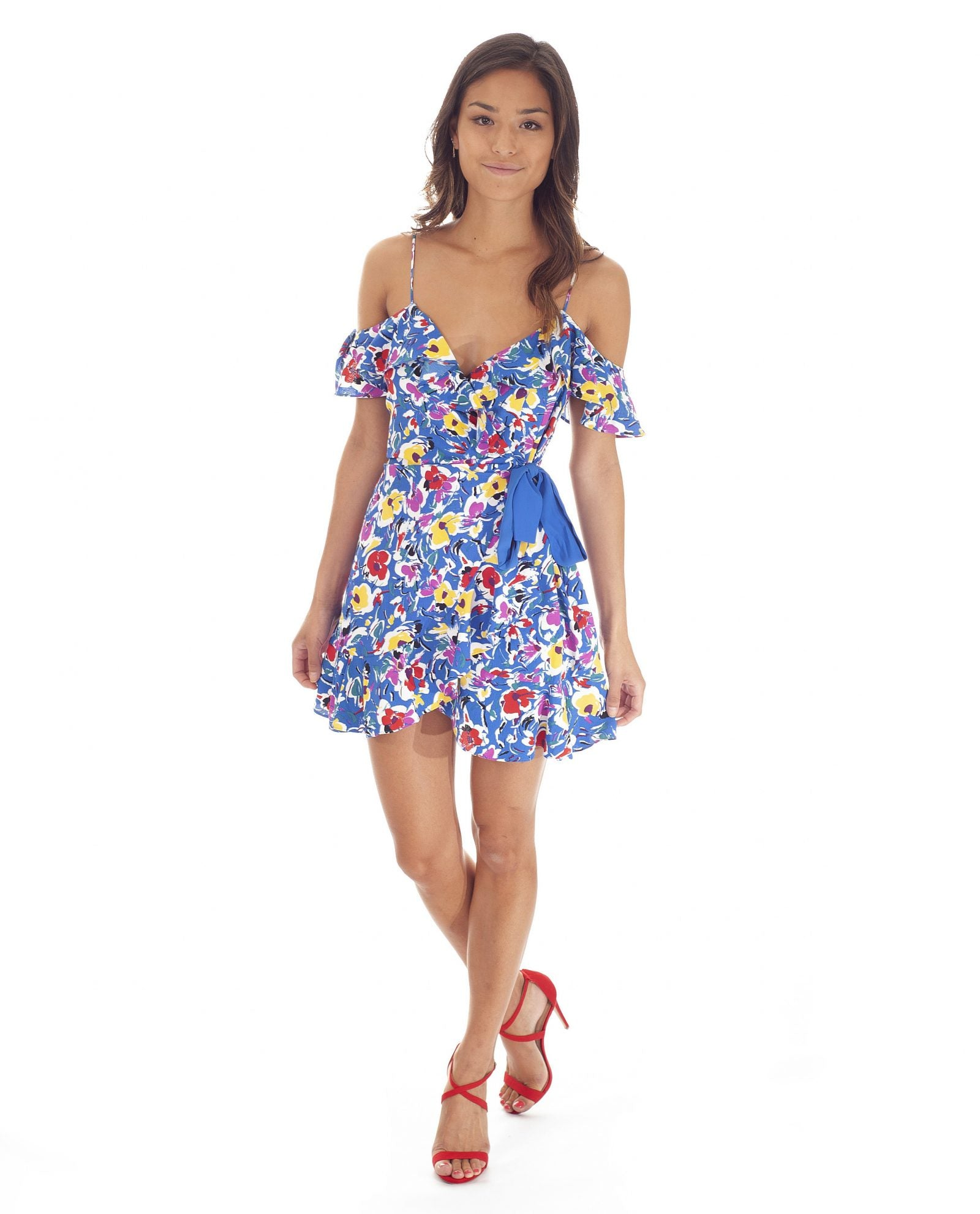 Hire Topshop Blue Floral Wrap Mini Dress | Hirestreetuk.com