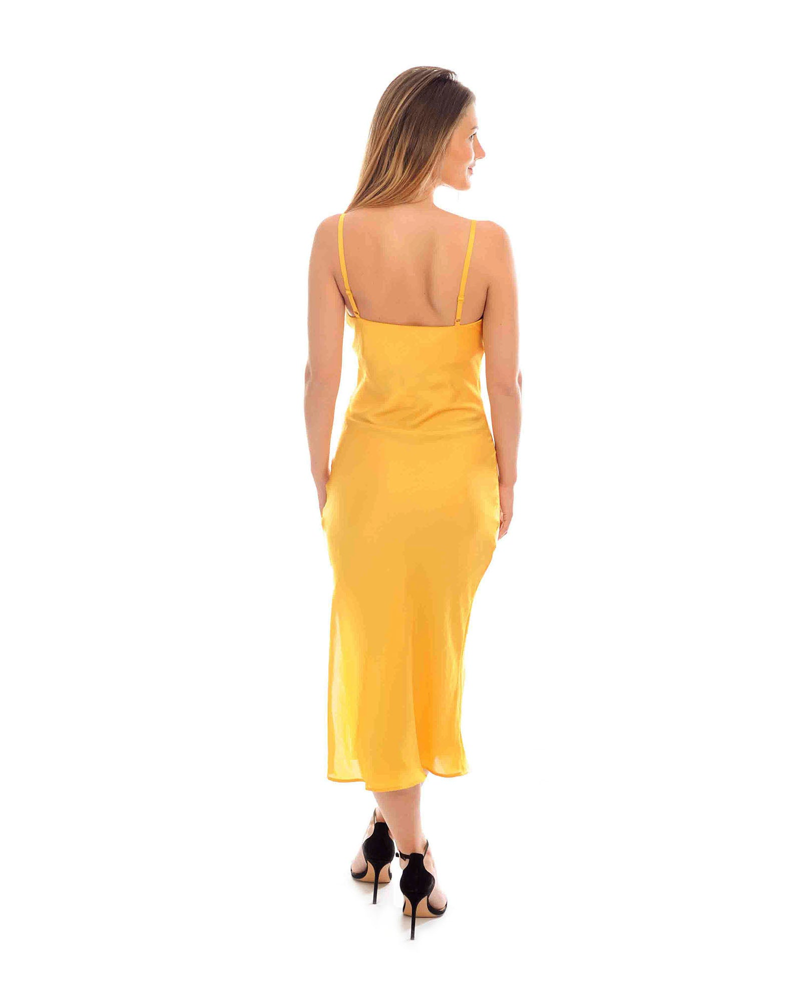 Rent a dress | Topshop yellow satin cowl neck midi dress | Hirestreetuk.com