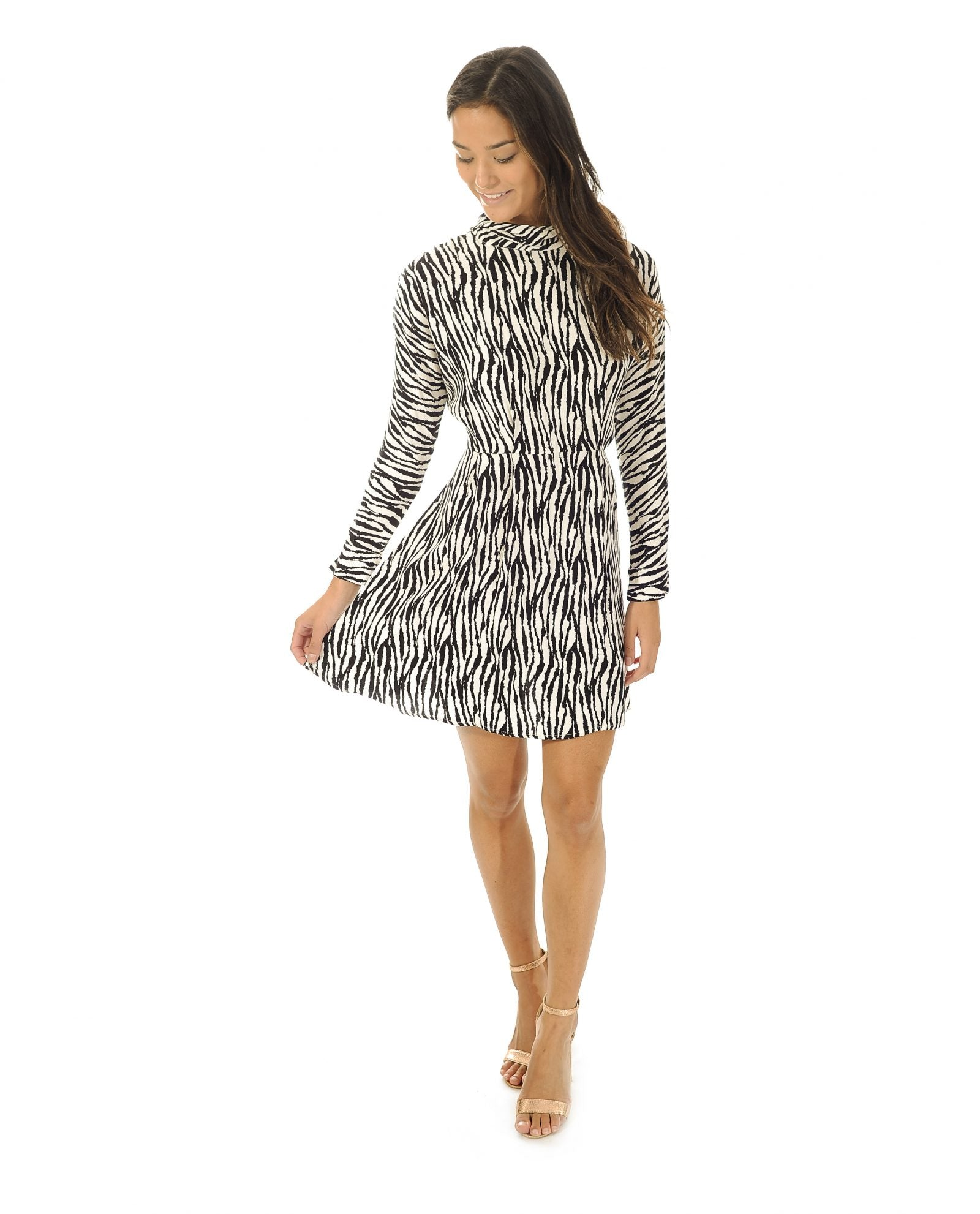 TOPSHOP ZEBRA STRIPE SKATER DRESS_AAA0848