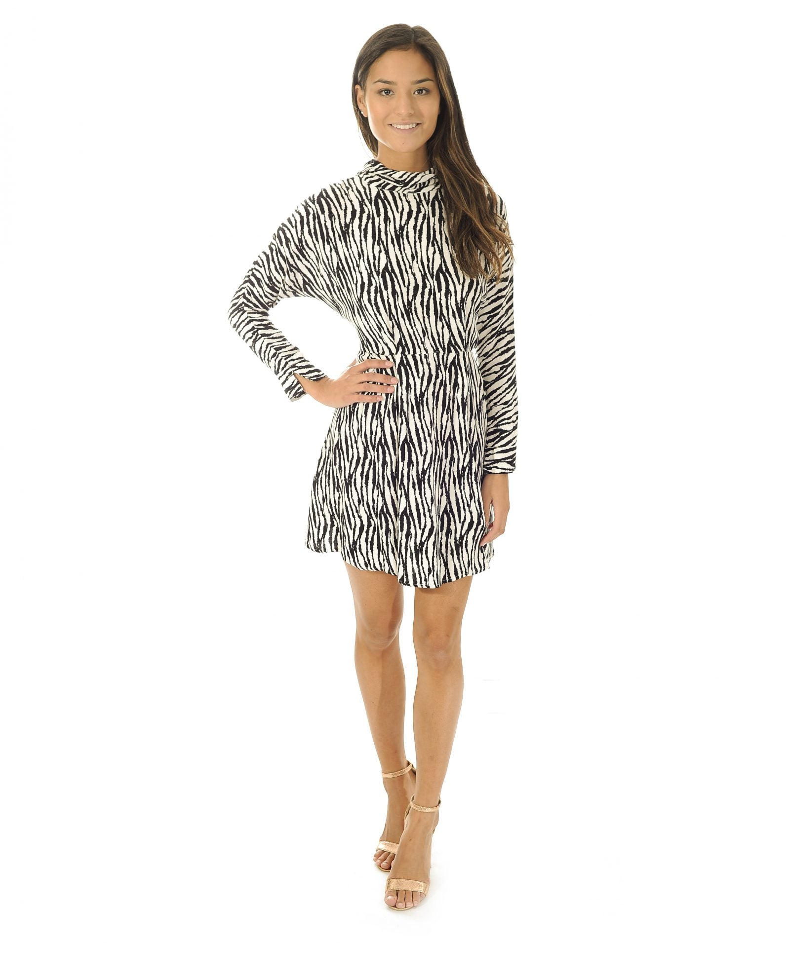 TOPSHOP ZEBRA STRIPE SKATER DRESS_AAA0850