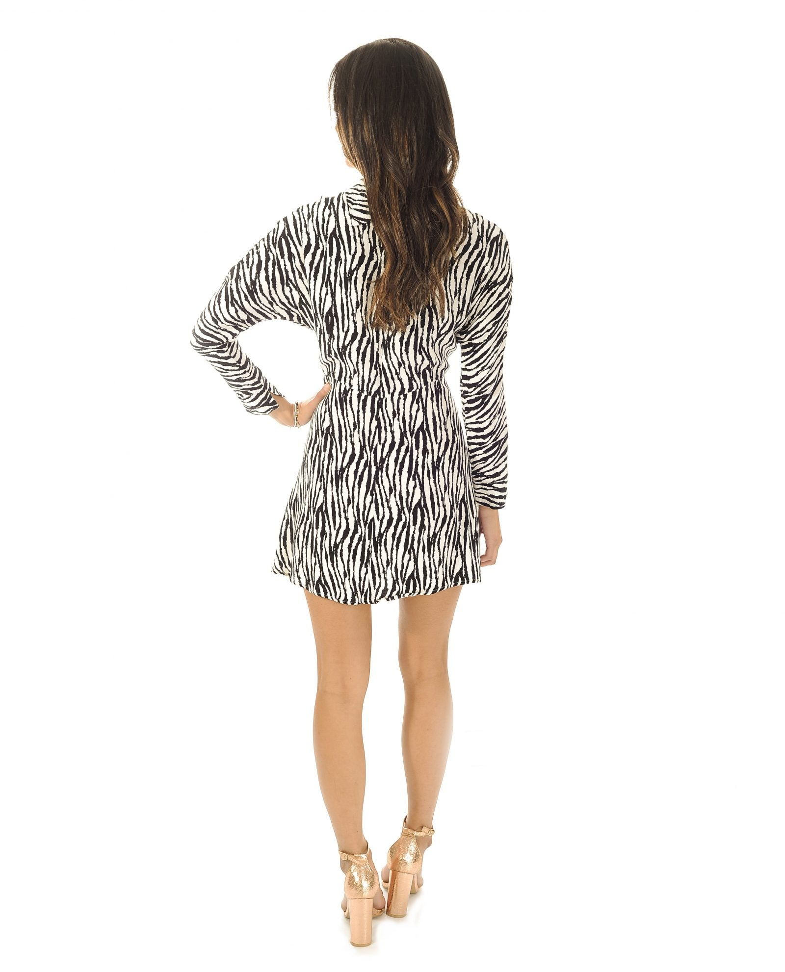 TOPSHOP ZEBRA STRIPE SKATER DRESS_AAA0857