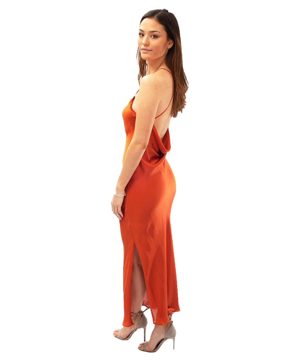 TOPSHOP RUST COWL BACK SATIN SLIP DRESS
