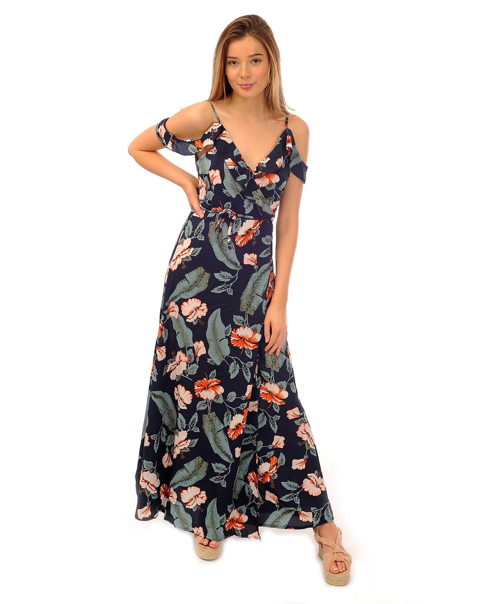Rent dress | Tropical print cold shoulder maxi dress with cross neck | Hirestreetuk.com