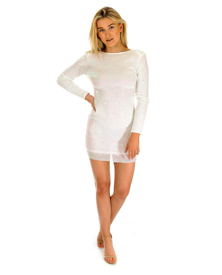 Hire White Sequin Mini Dress | Hirestreetuk.com