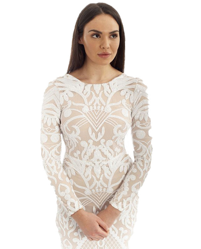 d0d996b63bc88 WHITE LONG SLEEVED SEQUIN MAXI