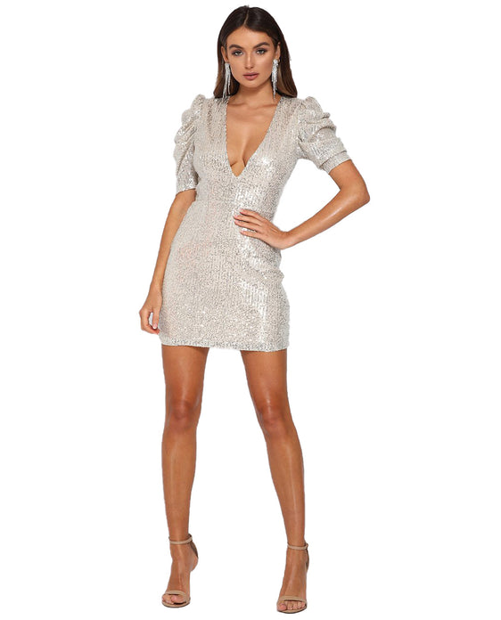 RUNAWAY THE LABEL DISCO POUFFE MINI DRESS