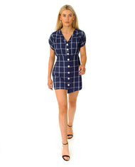 HIRE ZARA BLUE CHECKED MINI DRESS | Hirestreetuk.com
