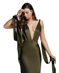 LEXI ADORA DRESS IN OLIVE GREEN