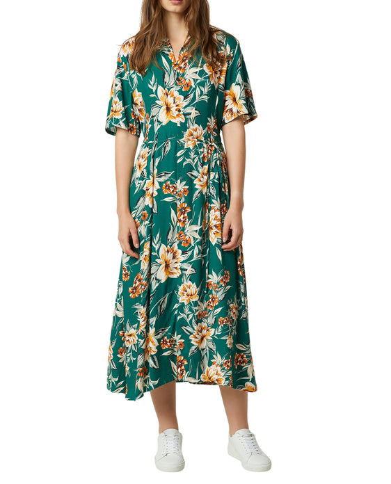 FRENCH CONNECTION CLARIBEL FLORAL MIDI SHIRT DRESS