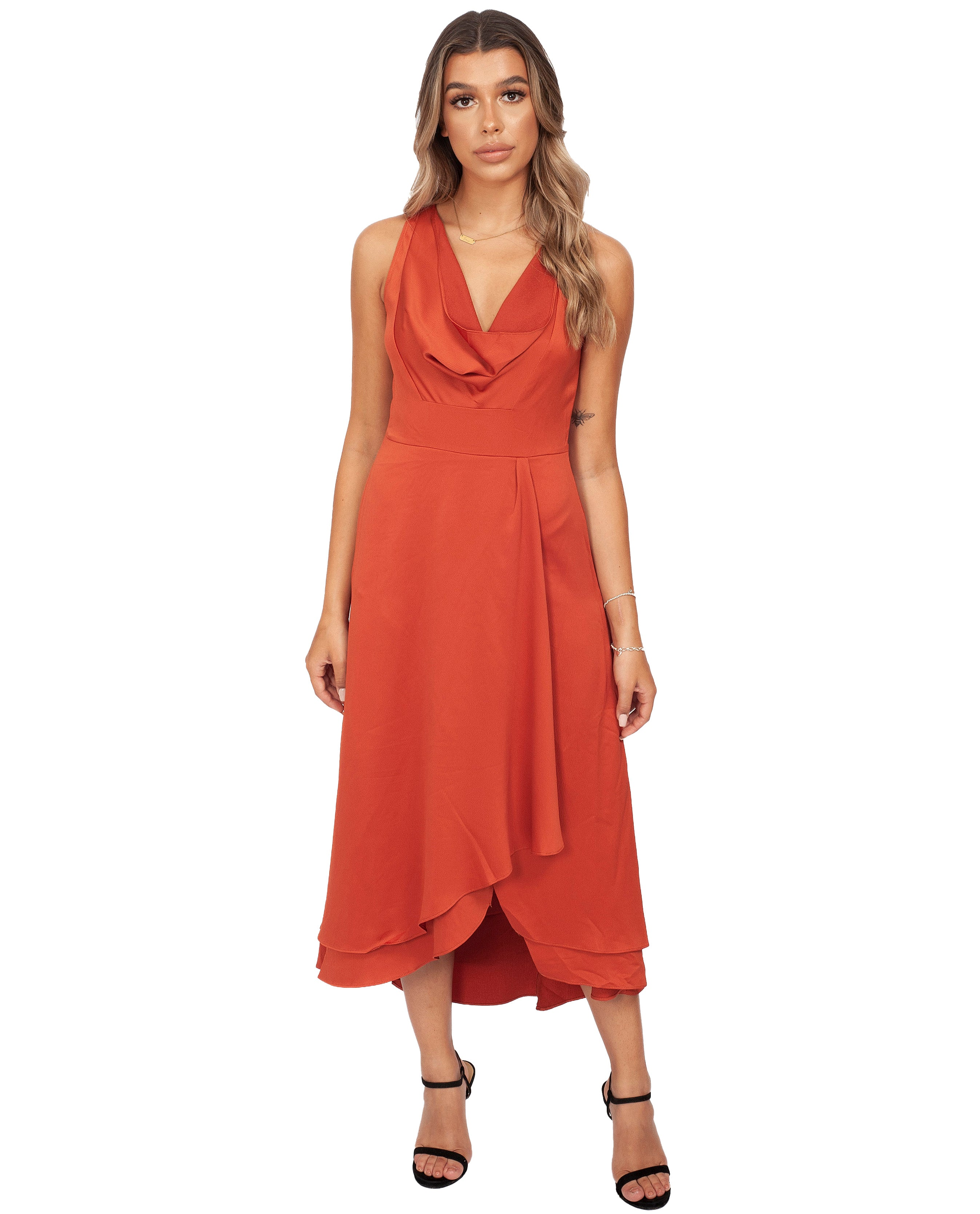 FRENCH CONNECTION CINNAMON SATIN COWL NECK MIDI DRESS
