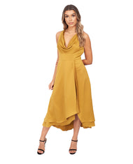 FRENCH CONNECTION CITRONELLE SATIN COWL NECK MIDI DRESS