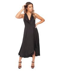 FRENCH CONNECTION BLACK SATIN COWL NECK MIDI DRESS