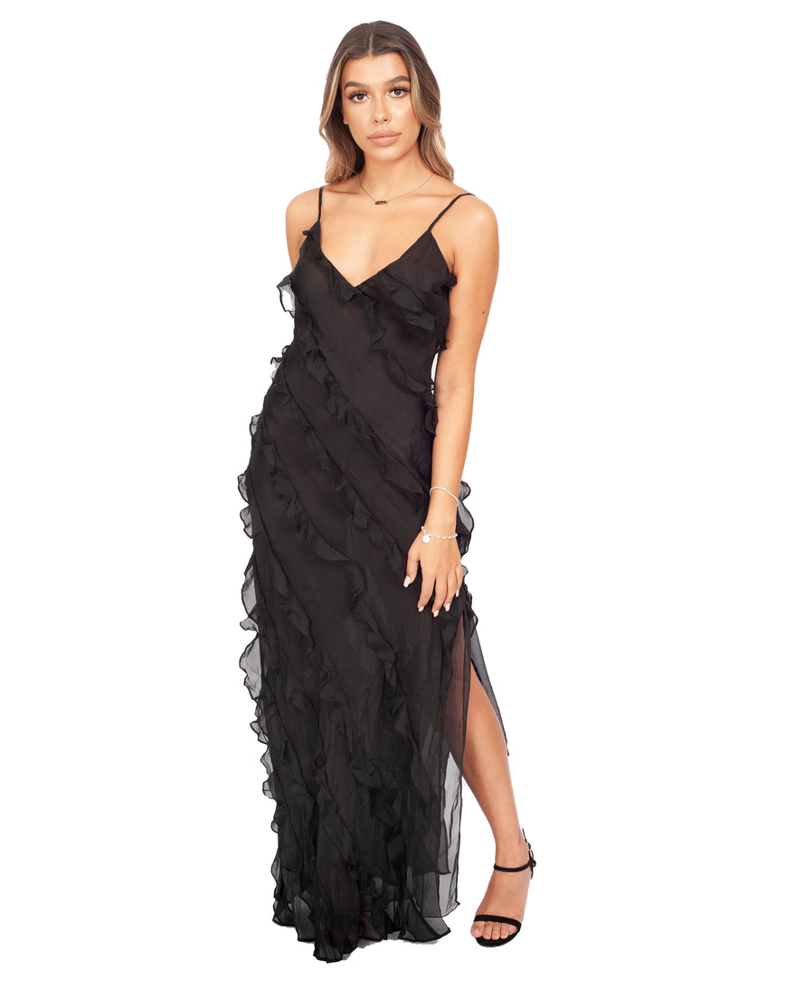 RAT AND BOA BLACK FRILL MAXI