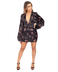 RAT AND BOA BLACK FLORAL MINI DRESS