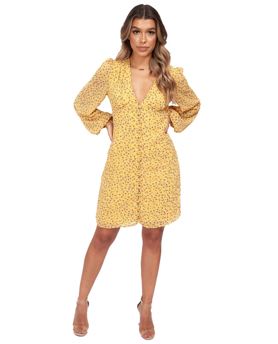 NEVER FULLY DRESSED YELLOW FLORAL PRINT MINI DRESS