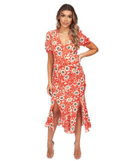 TOPSHOP RED FLORAL PRINT MIDI DRESS