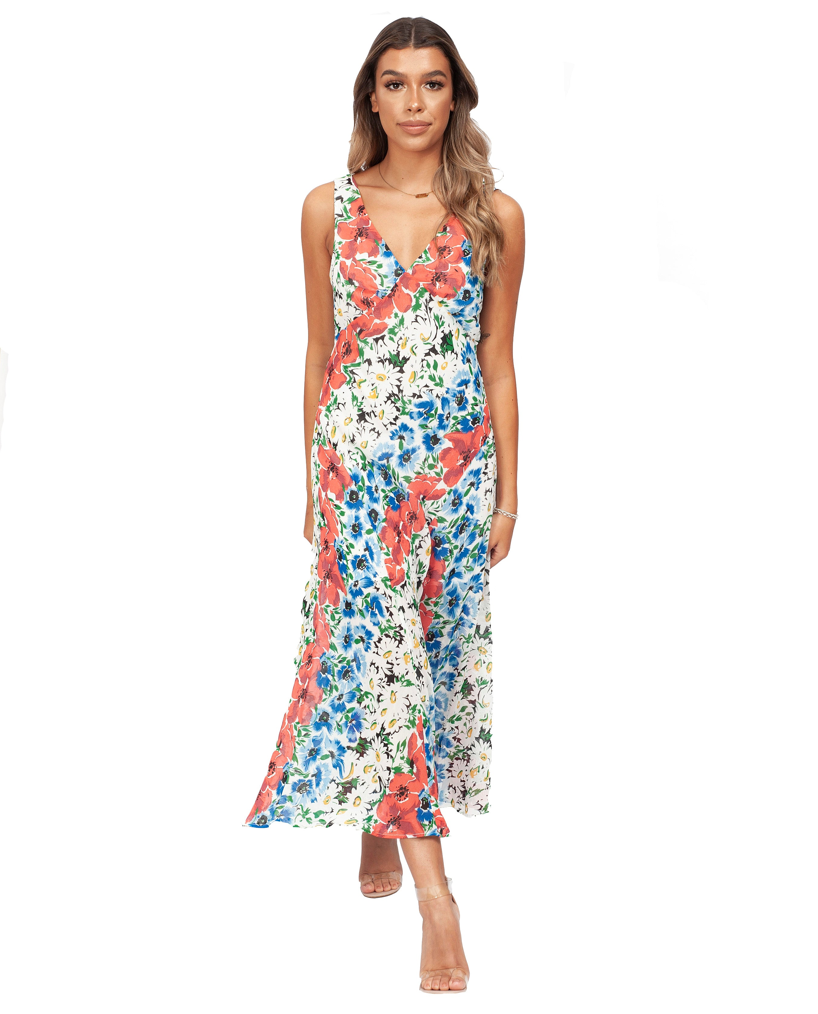 TOPSHOP SUMMER FLORAL MIDI DRESS