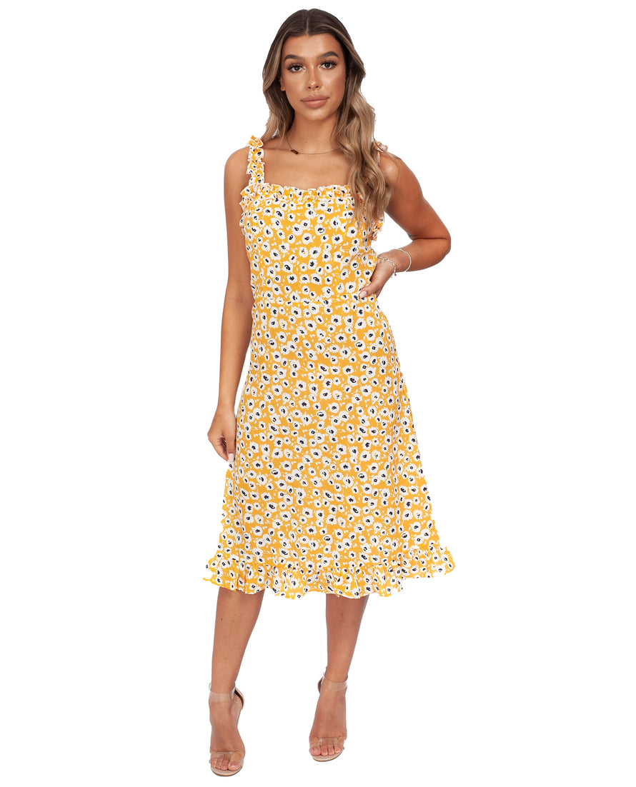 NEVER FULLY DRESSED YELLOW MIDI DRESS WITH FRILL DETAIL