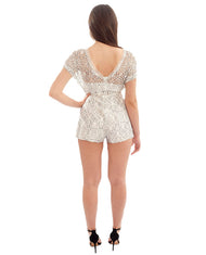 MISSGUIDED WHITE LACE OPEN SLEEVE PLAYSUIT