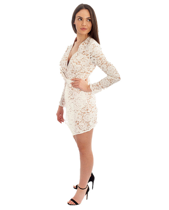 MISSGUIDED WHITE PLUNGE LACE TWIST FRONT DRESS