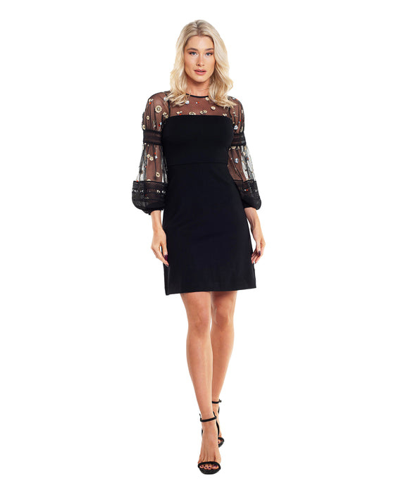 FRENCH CONNECTION PAULETTE EMBROIDERED DRESS
