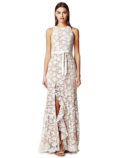 JARLO PETAL CUTOUT LACE MAXI WITH BOW DETAIL