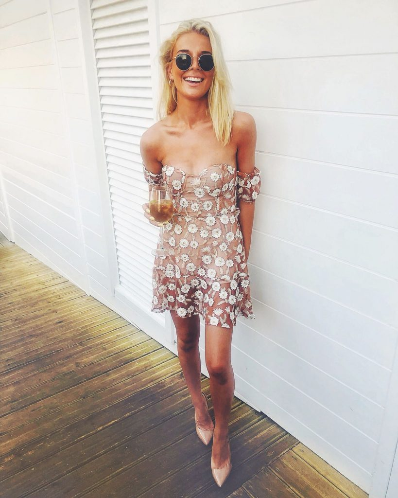NUDE & WHITE FLORAL BANDEAU DRESS