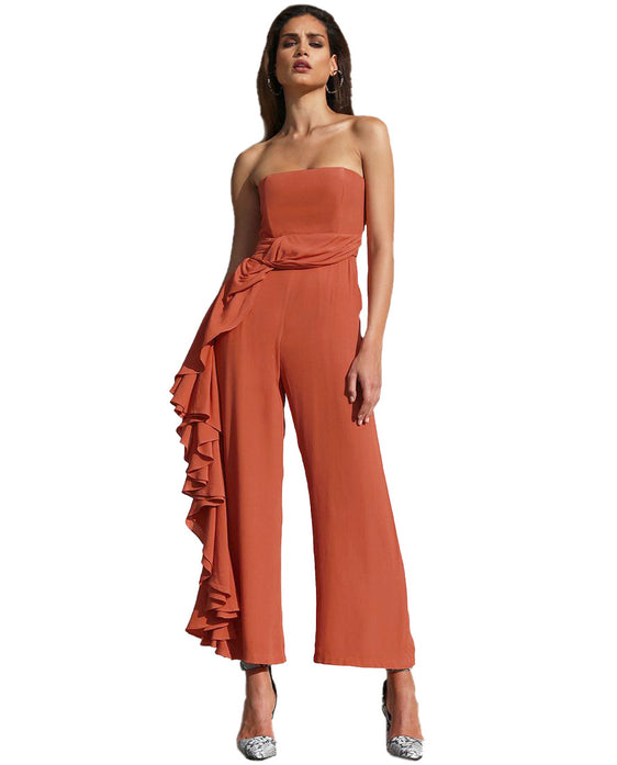 PREM THE LABEL BURNT STRAPLESS JUMPSUIT WITH SIDE RUFFLE