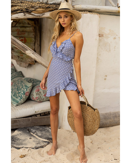 HIRE SEVEN WONDERS BLUE POLKA DOT MINI WRAP DRESS