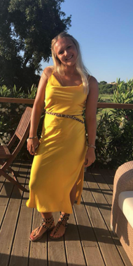 TOPSHOP YELLOW SATIN MIDI DRESS