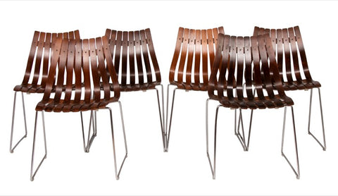 Set of 6 1960s Rosewood & Chrome Dining Chairs by Hans Brattrud