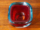 1960's Murano Glass Red, Turquoise and Clear Glass Bowl