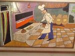 'Bread Baking' tiled hand-painted art piece